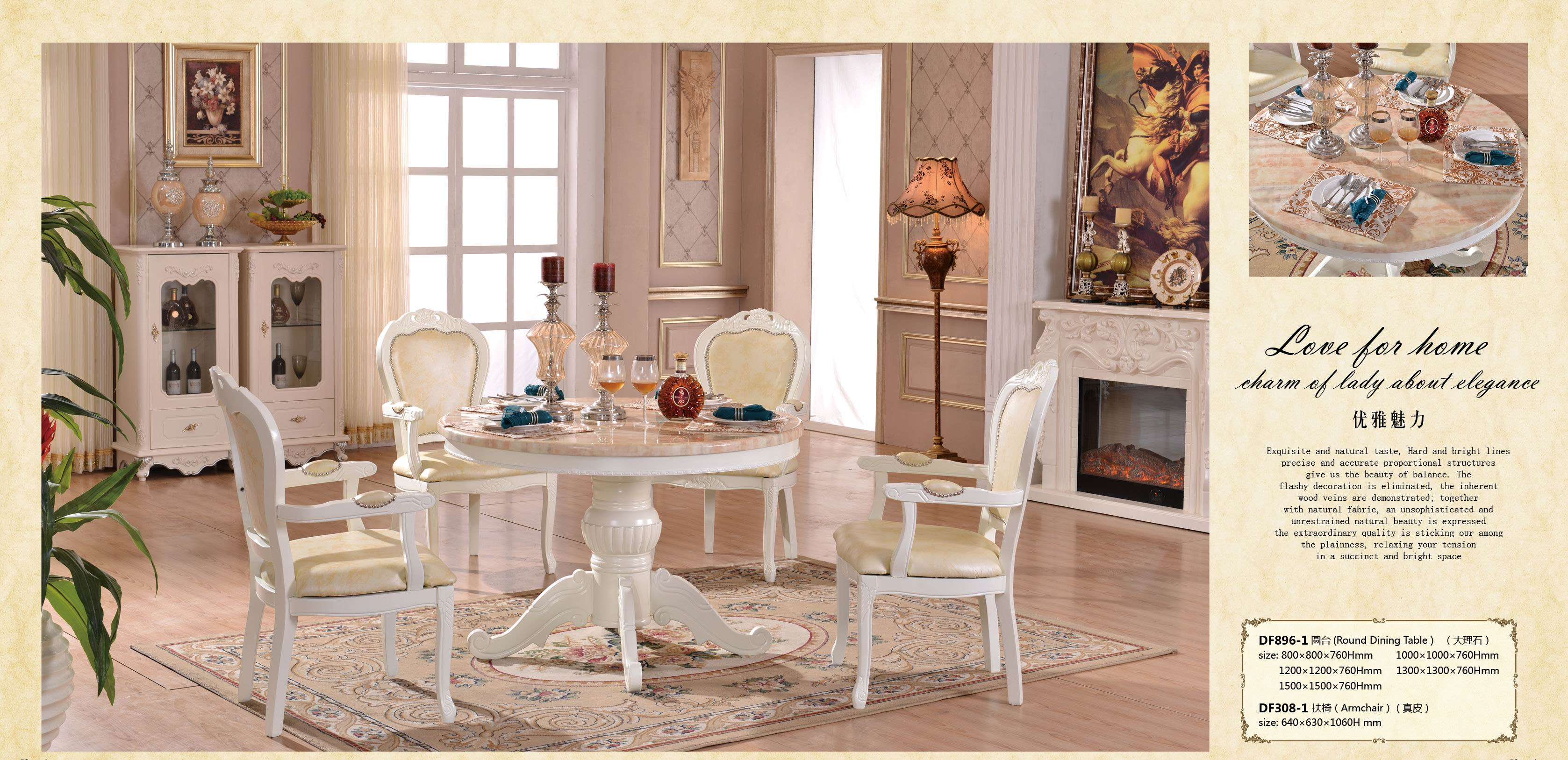 Marble top wood dining room table hot selling.jpg