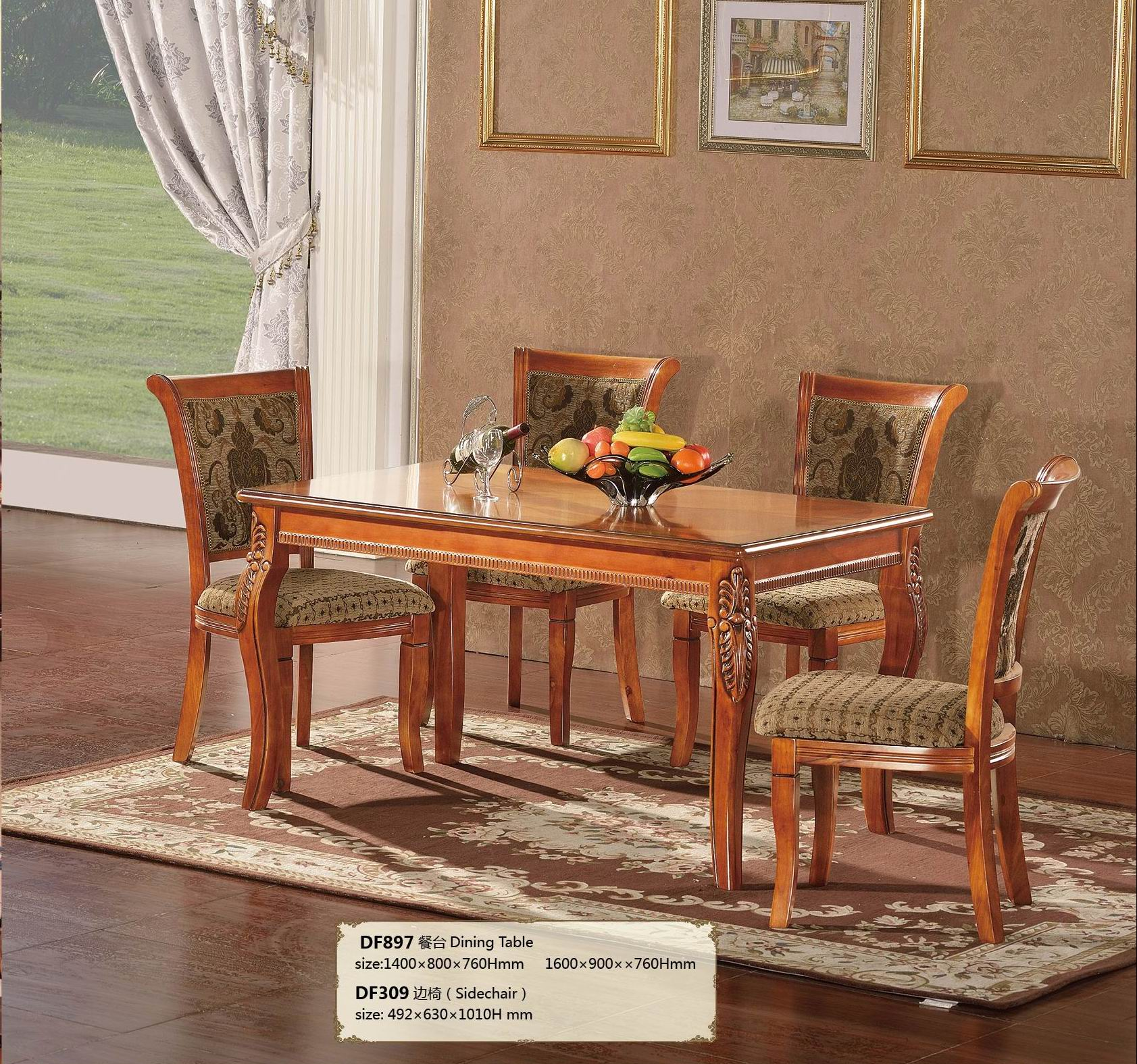 Fench style real wood making desk for eating dining room use furniture.jpg