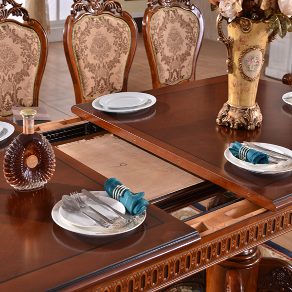 2016 European style vintage hand carved solid wood extended dining table set #216