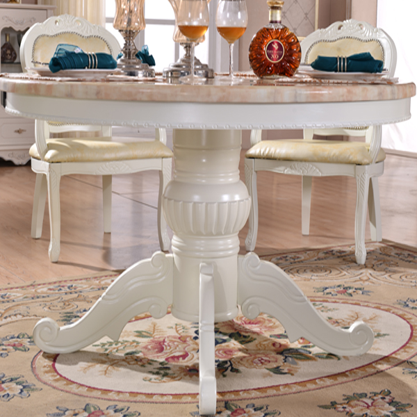marble top round dining table set