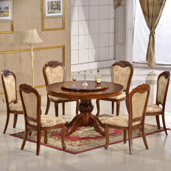 simple solid wooden round dining table set