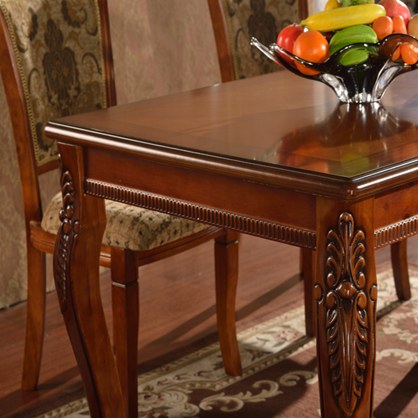 cheap solid rubber wood long dining table set