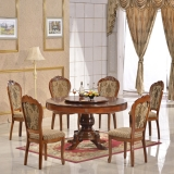 Wood carving round dining table and chair furniture